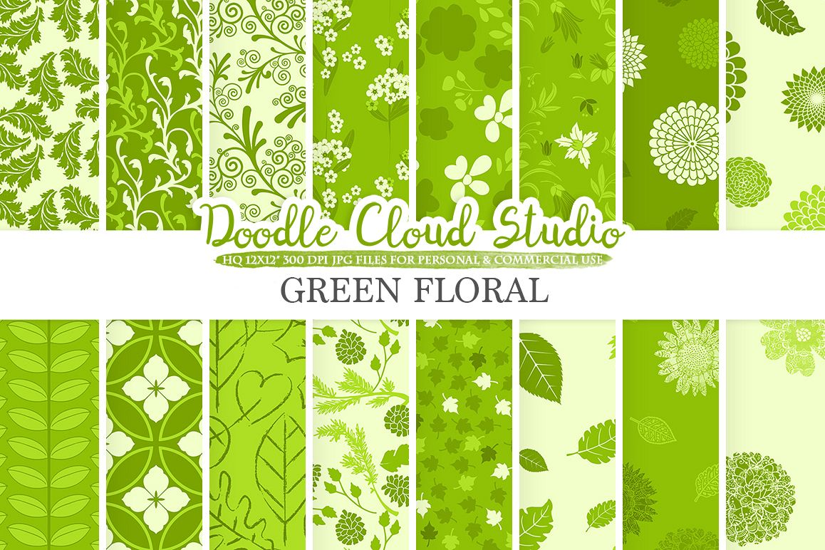 Green Floral digital paper, Green Floral pattern Flowers Dhalia Leaves Damask Calico background, Instant Download, Personal & Commercial Use example image 1