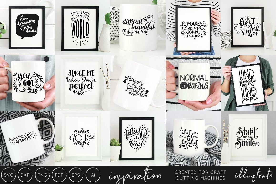 Inspirational Quotes SVG Cut File Bundle - Design Collection example image 1