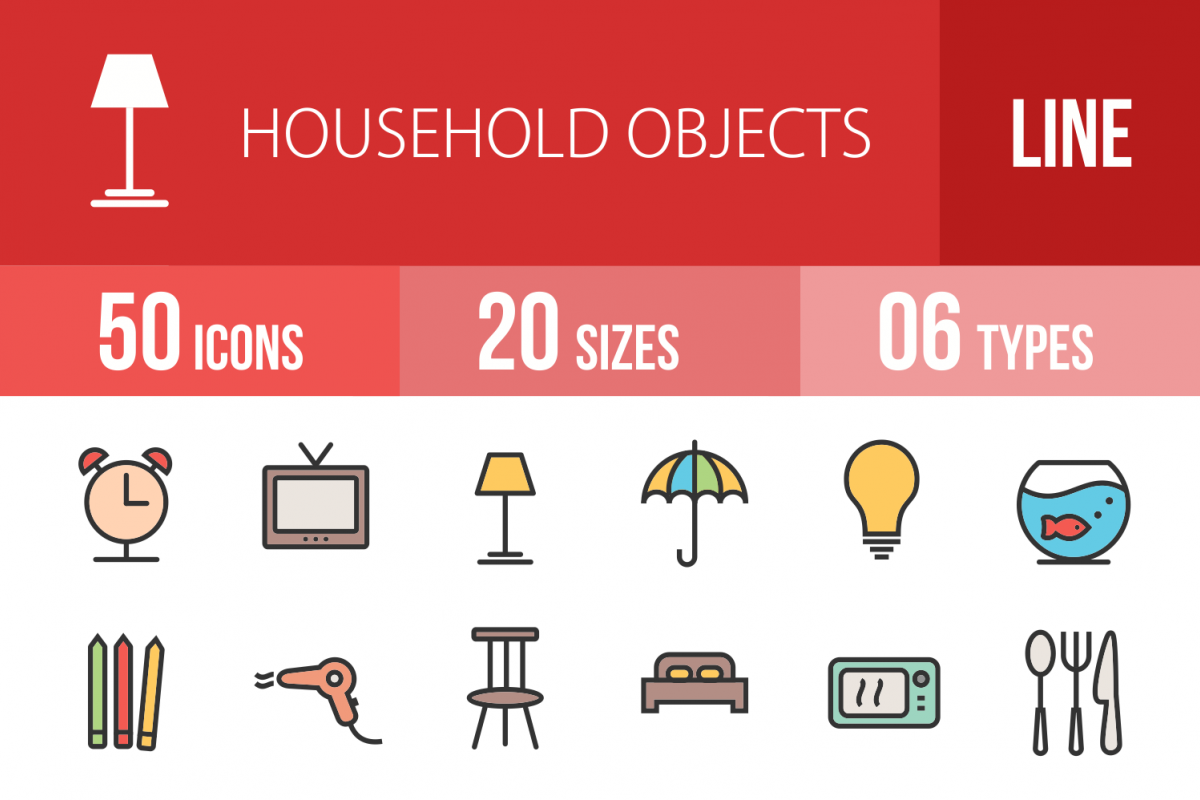 50 Household Objects Linear Multicolor Icons example image 1