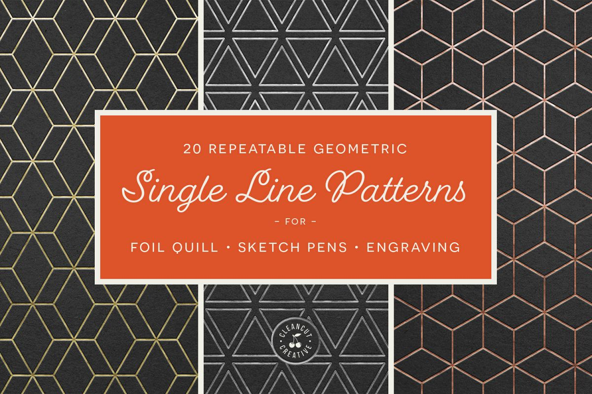 Foil Quill designs SVG   20 Geometric Single Line Patterns example image 1