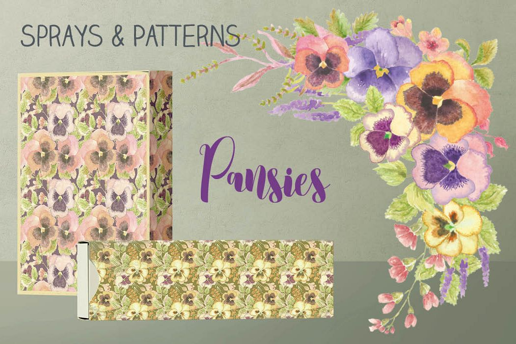 Colorful pansies: sprays and patterns in watercolor example image 1