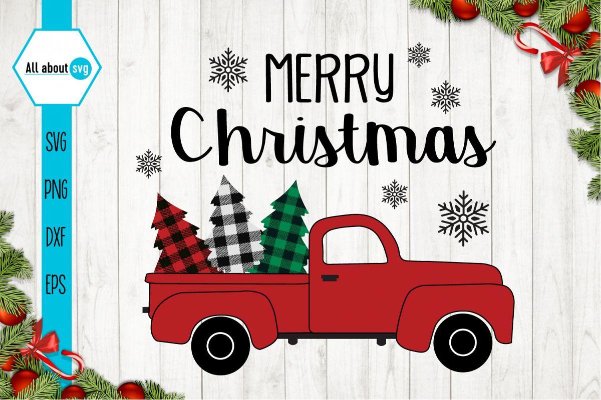 Christmas Truck Buffalo Plaid Svg example image 1