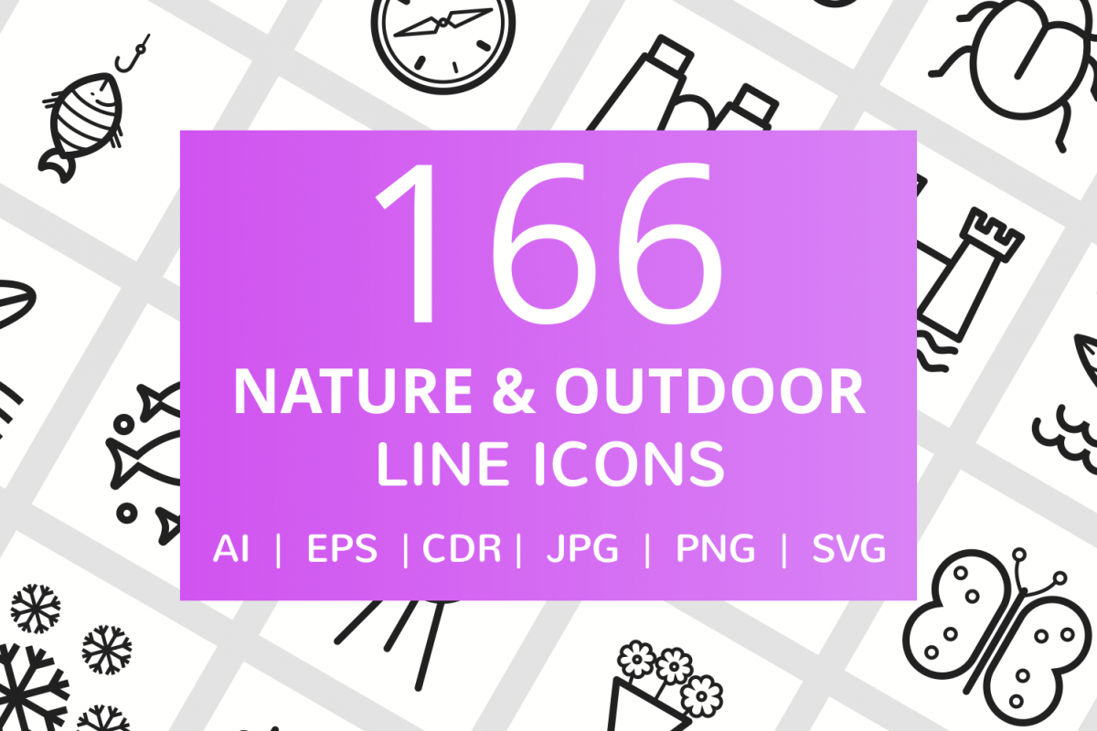 166 Nature & Outdoor Line Icons example image 1