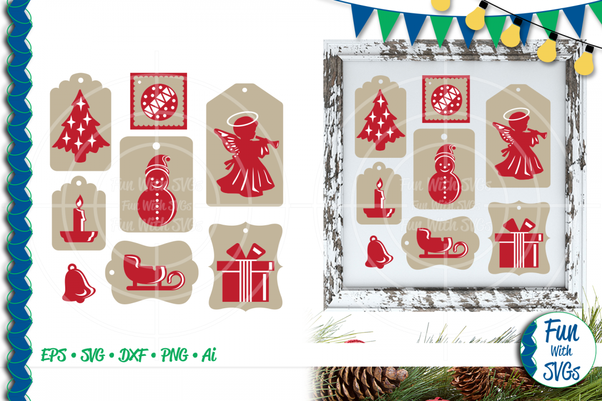 SVG Christmas Tags Red White, Cut File, Clip Art FWS466 example image 1