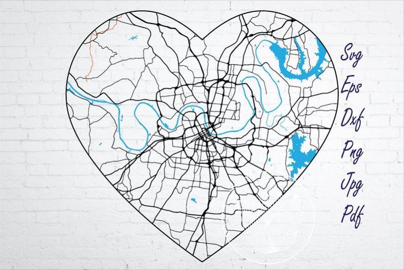 Nashville Tennessee city road map svg, eps, dxf, png, jpg