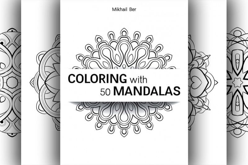 Coloring with 50 floral mandalas example image 1