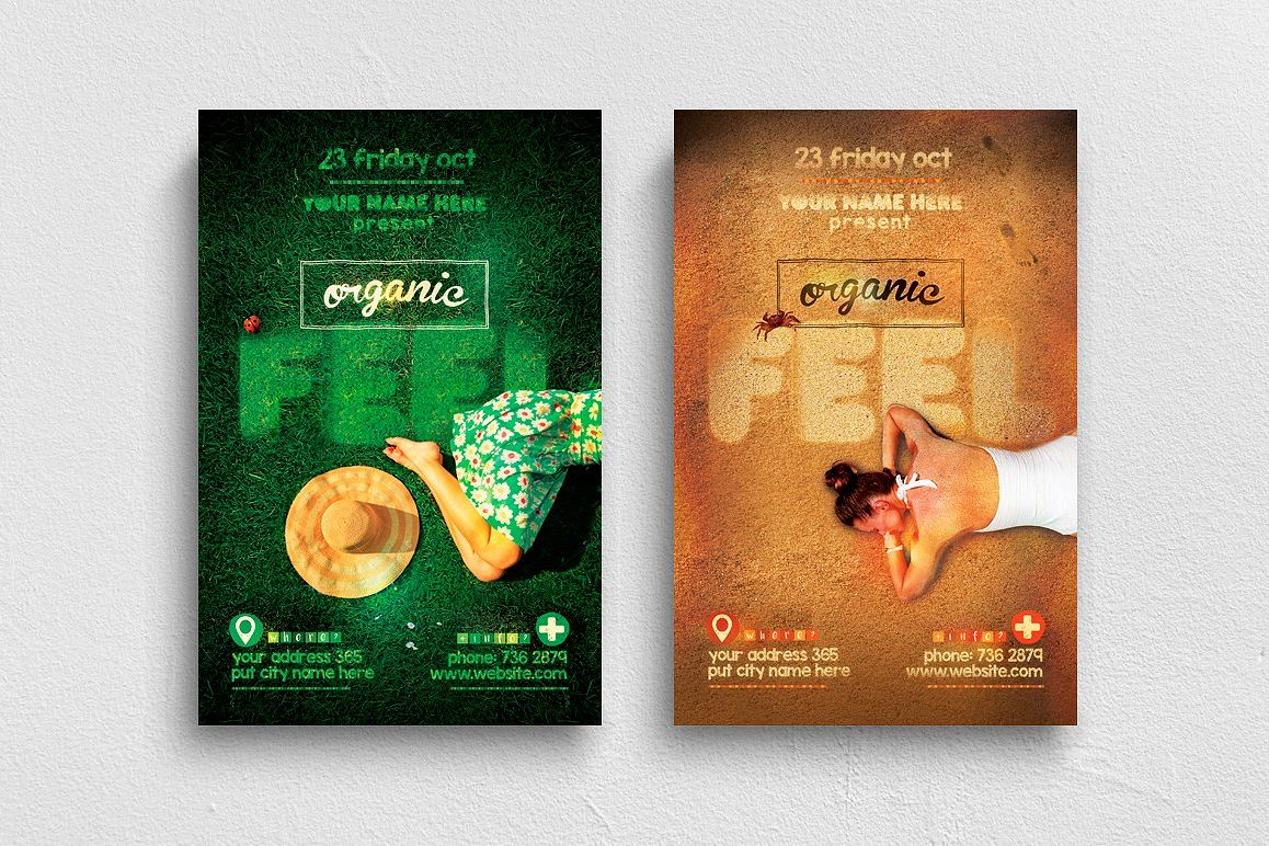 Organic Feel Flyer Template Grass & Sand Version example image 1