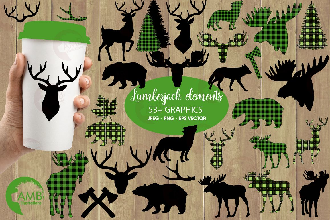 Lumberjack clipart, Green Buffalo plaid, Forest animal silhouettes graphic, illustration, AMB-2360 example image 1
