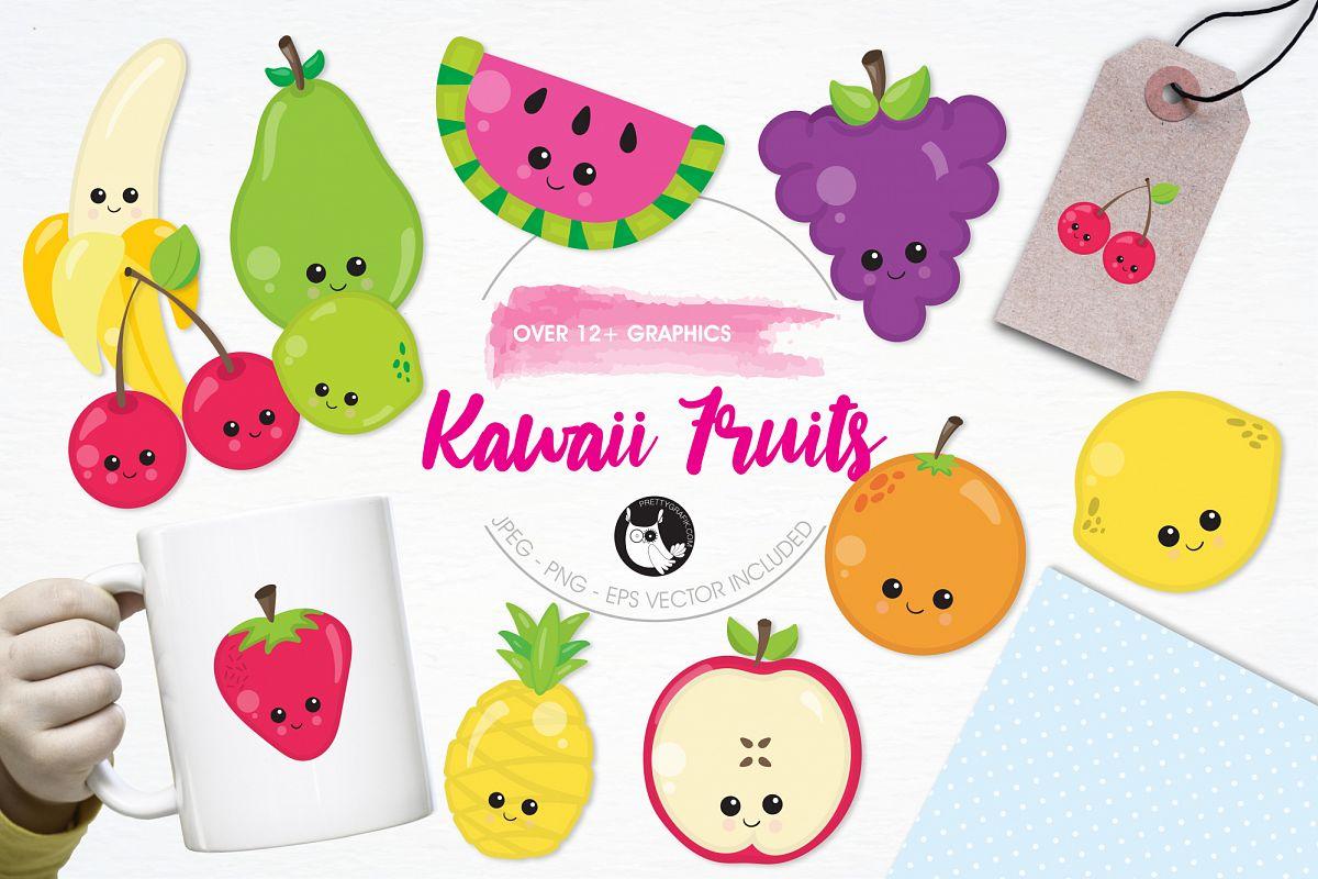 Kawaii Fruits  graphics and illustrations example image 1