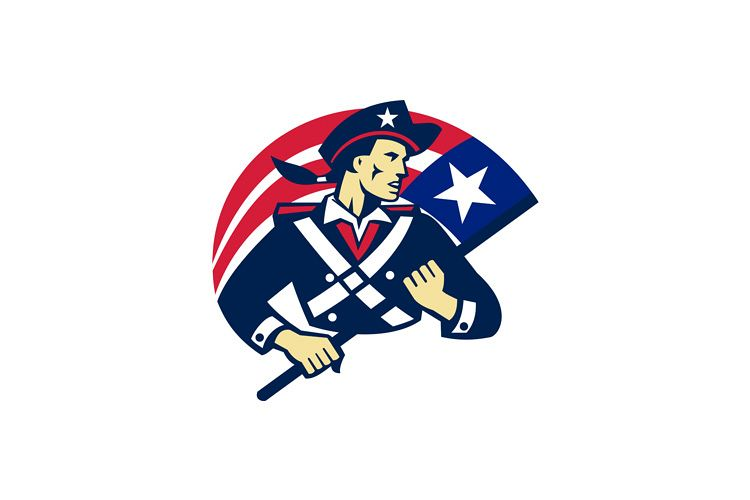 american patriot minuteman flag retro example image 1