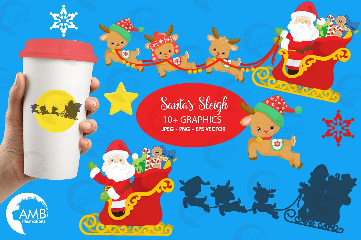 Santa's sleigh clipart, graphics, illustrations AMB-2294 example image 1