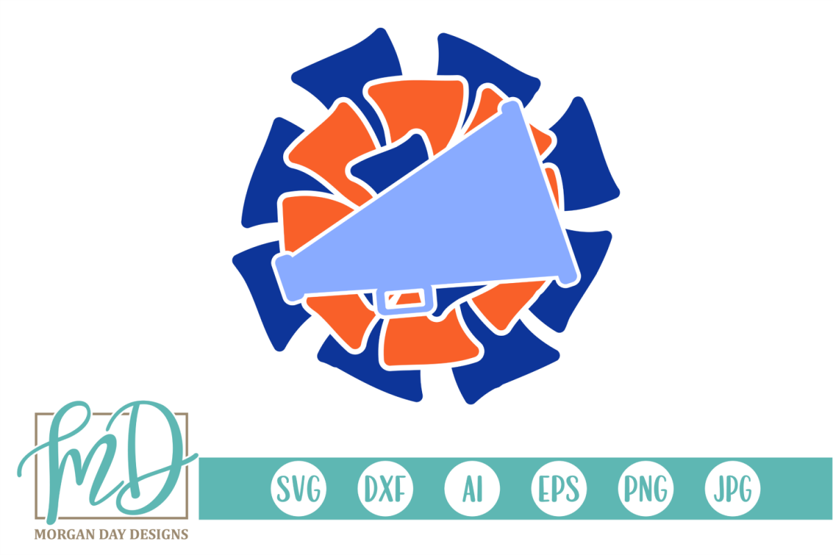 Cheer - Pom Pom - Megaphone SVG, DXF, AI, EPS, PNG, JPEG example image 1