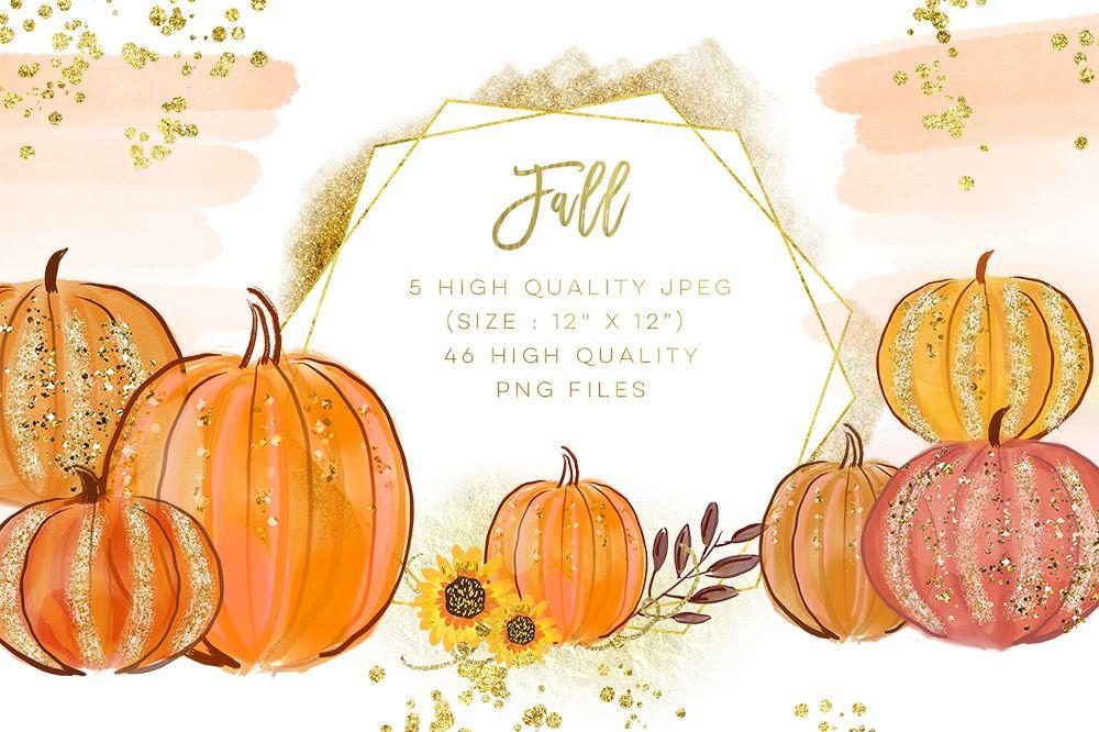 Pumpkins Watercolor Collection Fall Autumn Clip Art ...