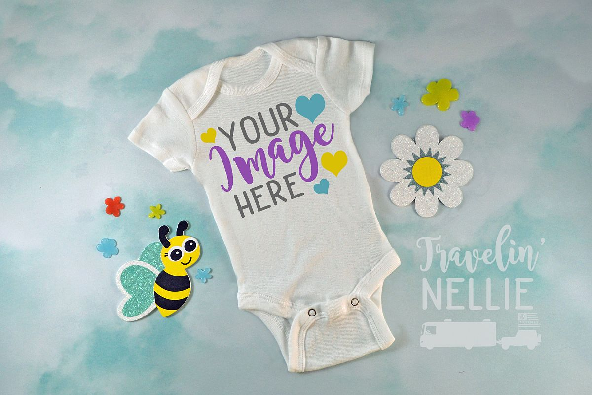 White Bodysuit Mockup One Piece Styled Baby Easter Spring example image 1