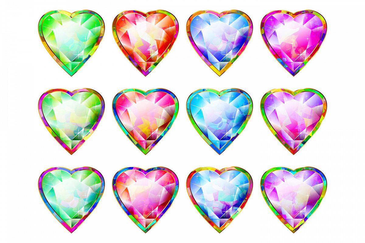 Vector Heart Shape Multicolor Diamond Pendant Abstract Symbol Icon Set example image 1