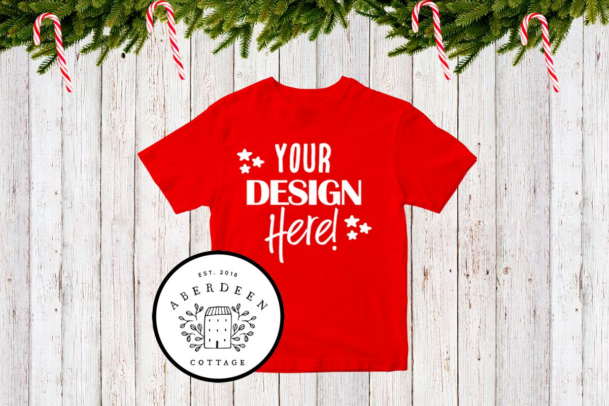 Children's Christmas Red T-Shirt Mock Up Style 2 example image 1