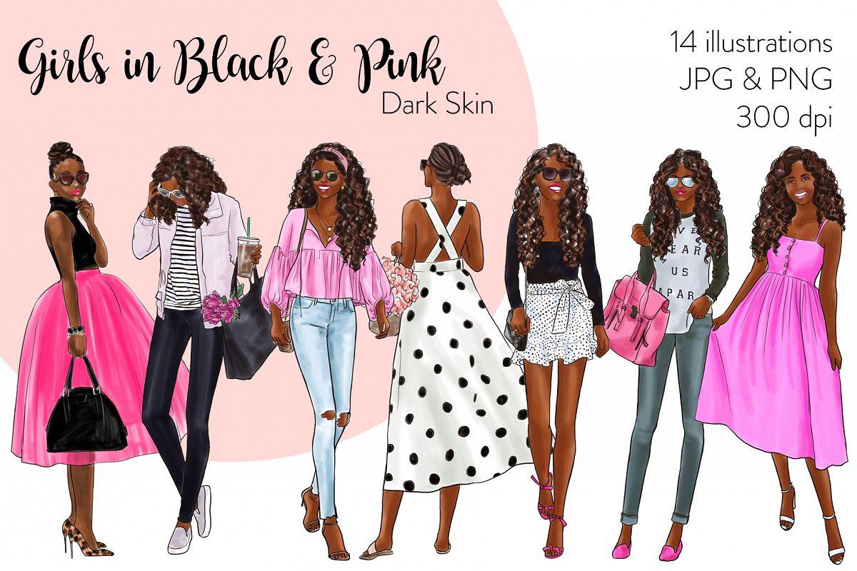 Fashion illustration clipart - Girls in Black & Pink - Dark example image 1