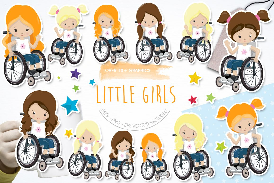 Little Girls graphic and illustrations example image 1