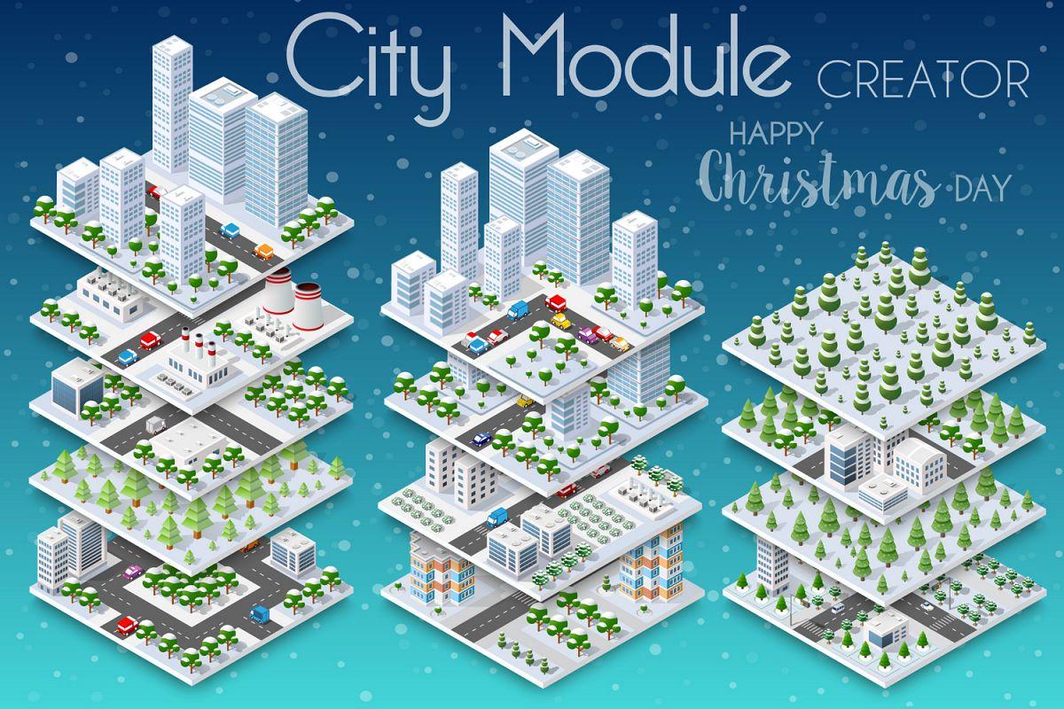 Winter Christmas city isometric example image 1