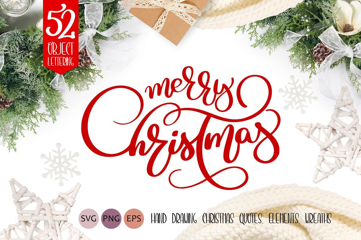 Christmas Calligraphy.Merry Christmas Quotes And Objects Calligraphy Collection