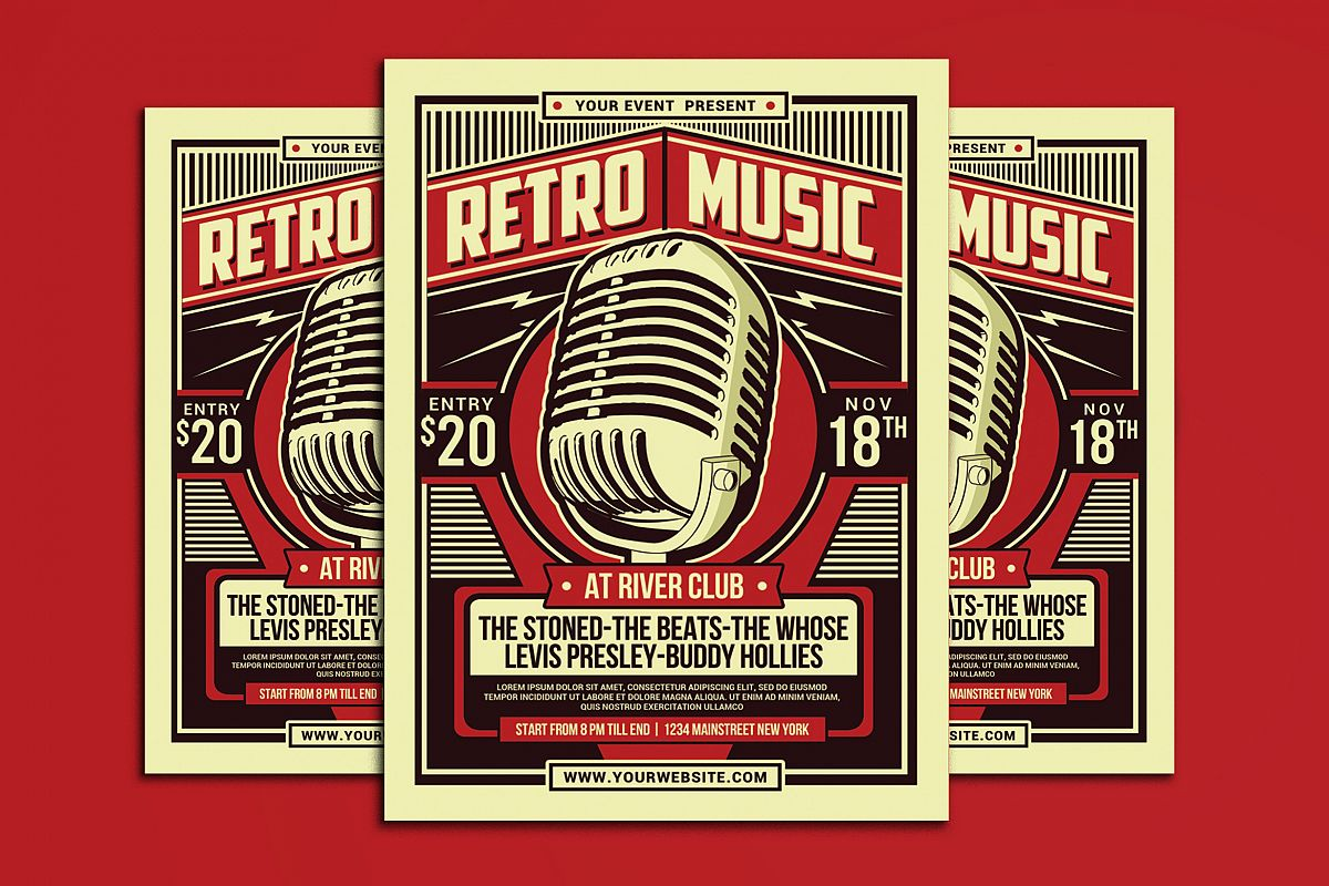 Retro Music Party Flyer example image 1