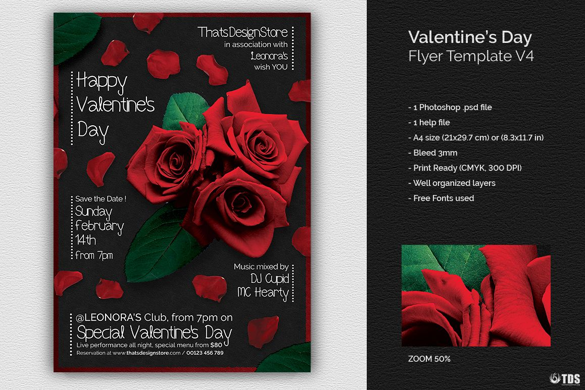 Valentines Day Flyer Template V4 Example Image 1
