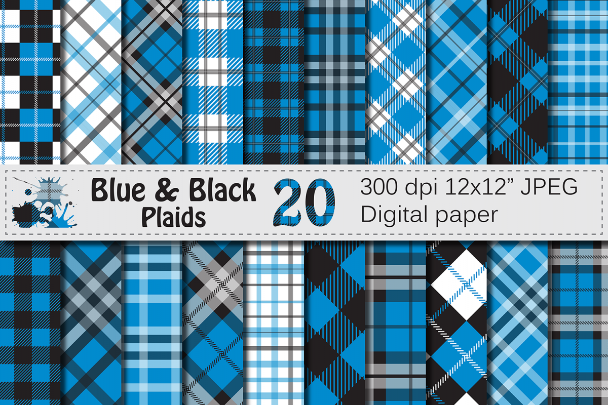 Blue and Black Plaid Digital Papers / backgrounds example image 1