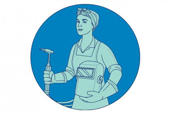 Female Welder Acetylene Welding Torch Mono Line example image 1