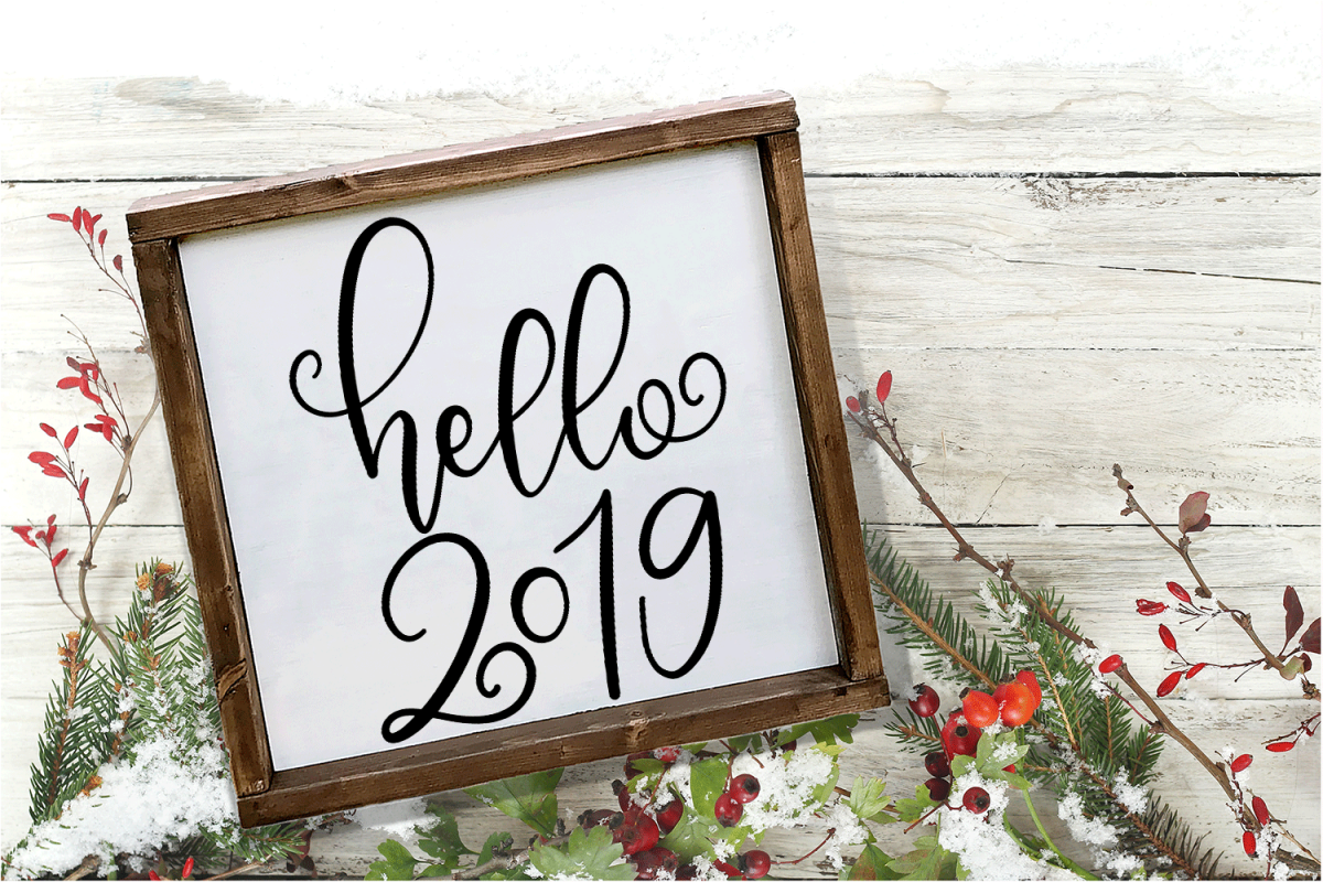 New Year SVG - Hello 2019 Hand-Lettered Cut File example image 1