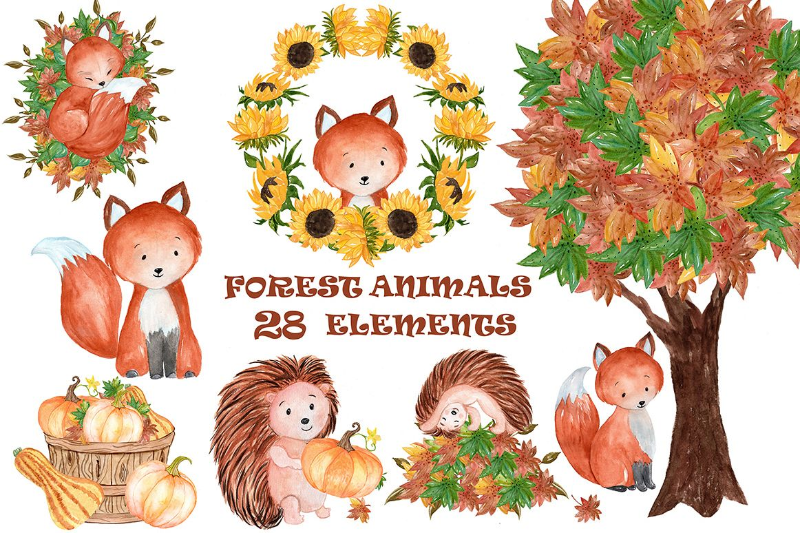 Watercolor forest animals clipart example image 1