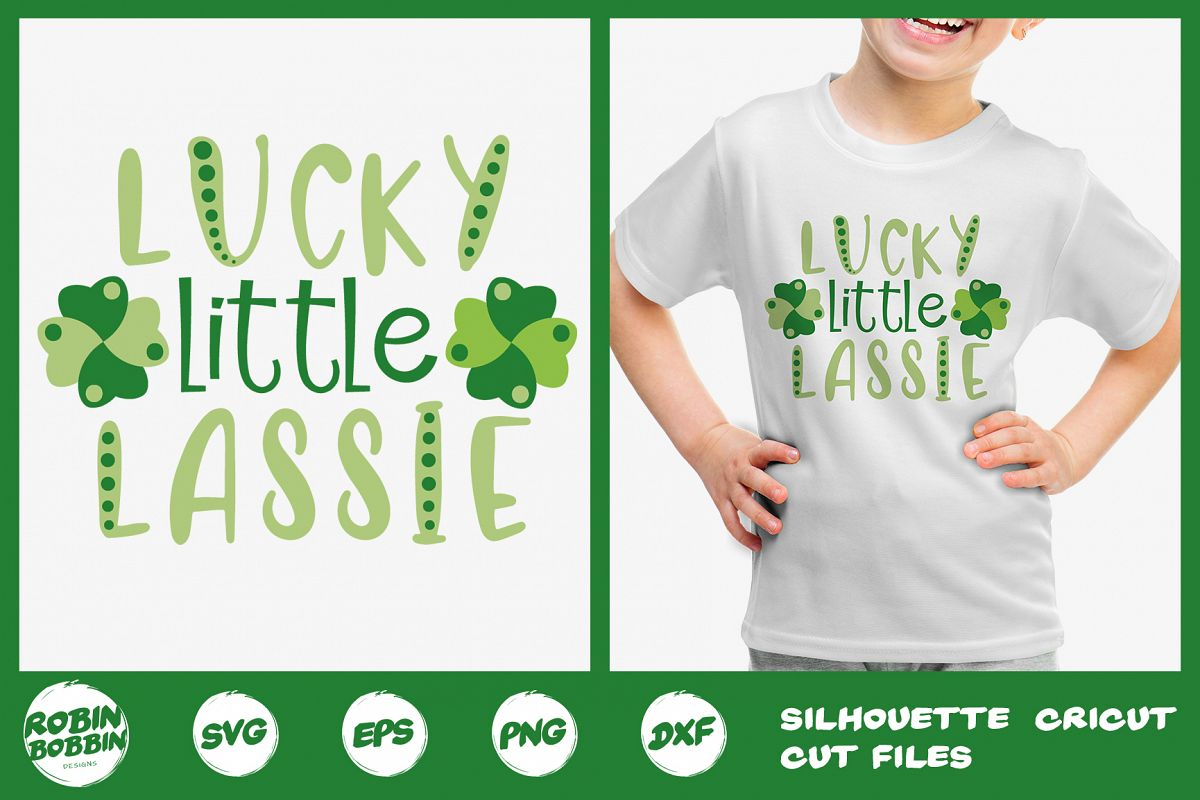 St. Patricks Day SVG, Lucky Little Lassie SVG, Crafters SVG example image 1