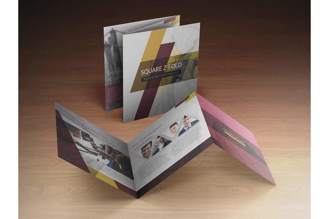 Square Z-Fold Brochure Mockup example image 1