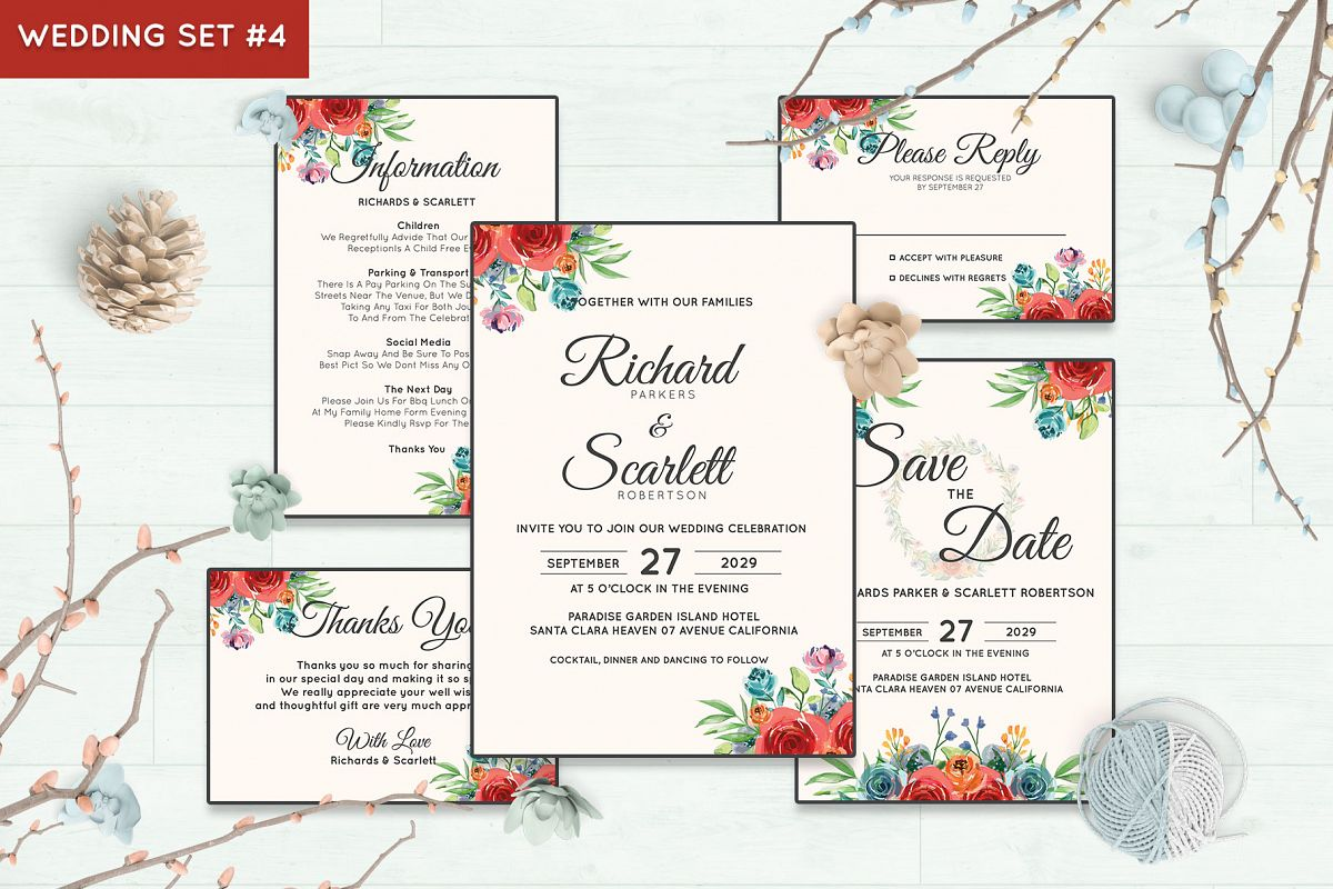 Wedding Invitation Set #4 Watercolor Floral Flower Style example image 1