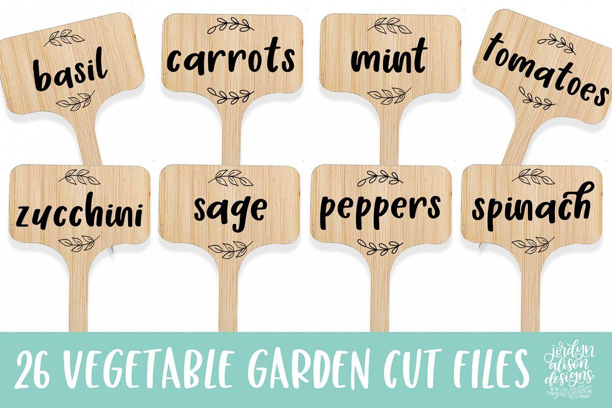 26 Vegetable Garden Labels/Flags, SVG Cut File Bundle example image 1