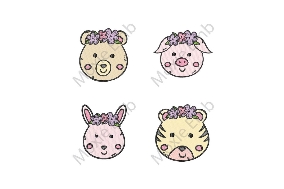 Animals Machine Embroidery Bundle Cute Animal Embroidery Designs