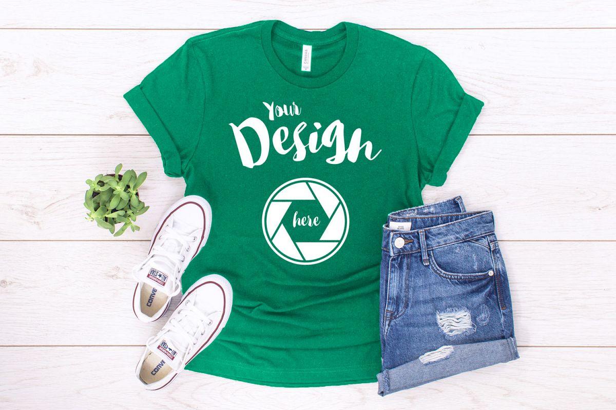 Kelly Green Canvas 3001 T Shirt Mockup example image 1