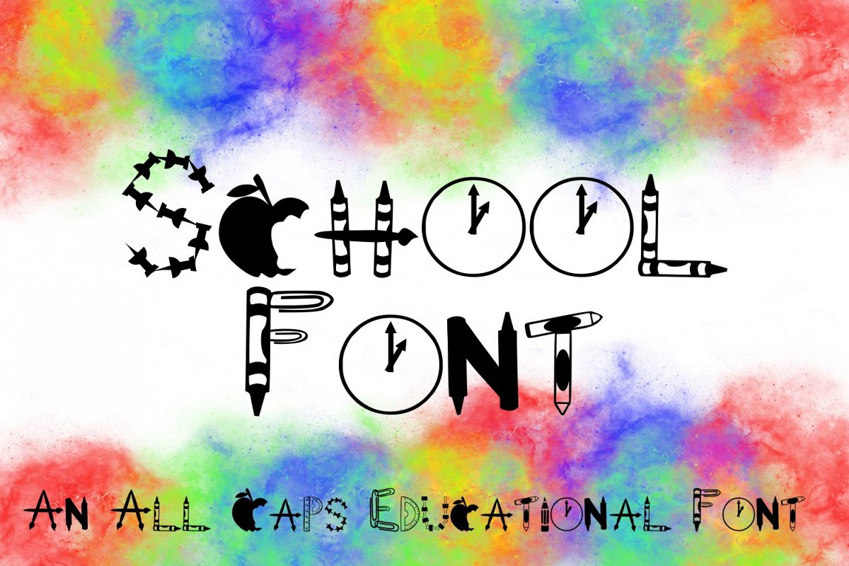 School Font -- Letters Made from School Supplies example image 1