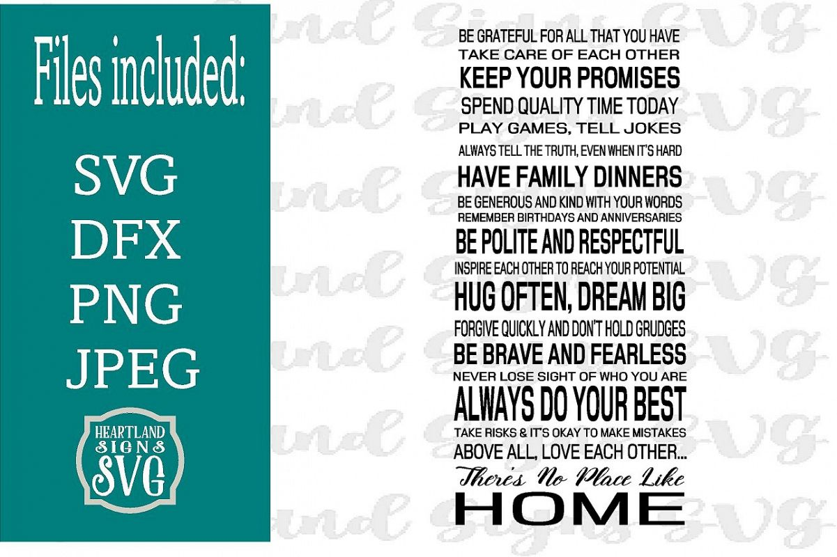 Family Rules There's No Place Like Home SVG example image 1