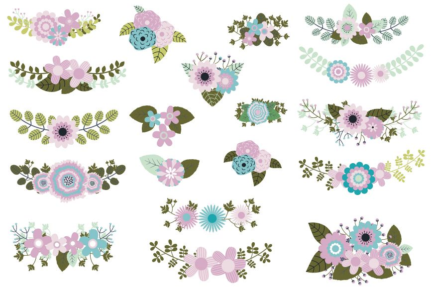 Mint Violet Green Wedding Flowers Clipart Rustic Floral Elements Example Image
