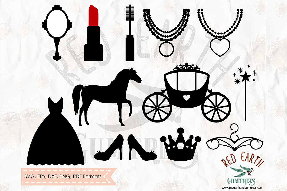 Princess collection elements bundle in SVG,DXF,PNG,EPS,PDF example image 1