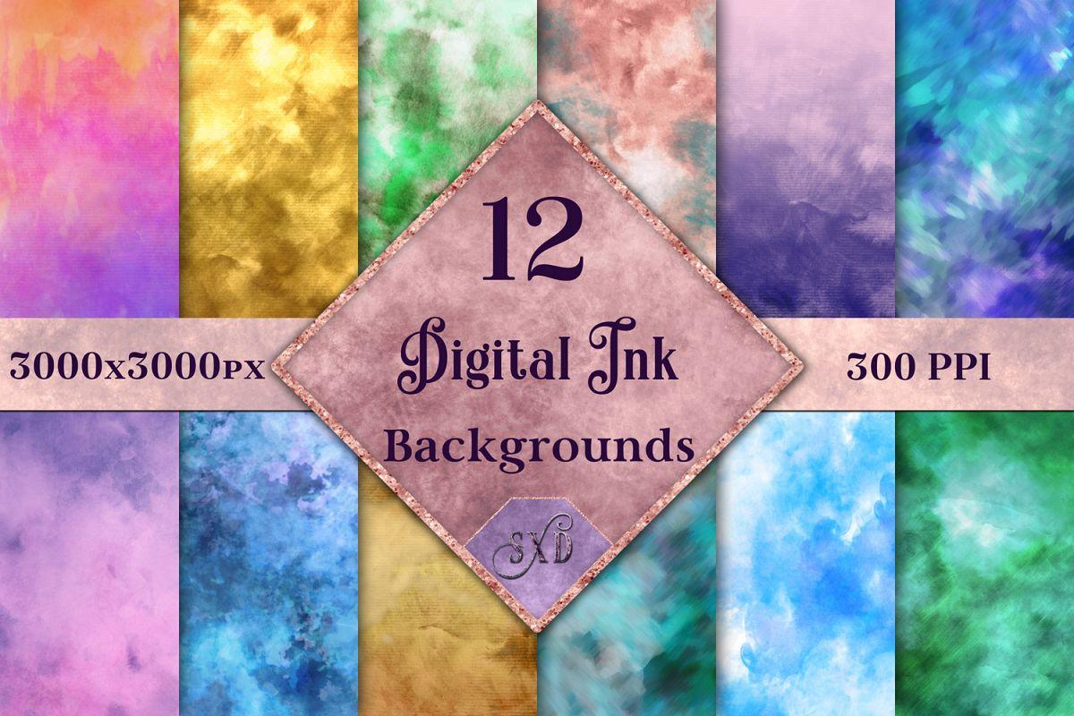 Digital Ink Backgrounds - 12 Image Set example image 1