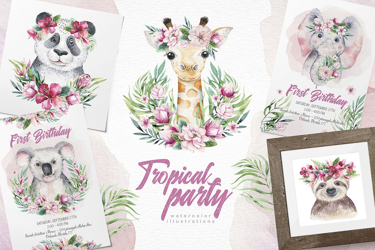 Cute friends II. Tropical party example image 1