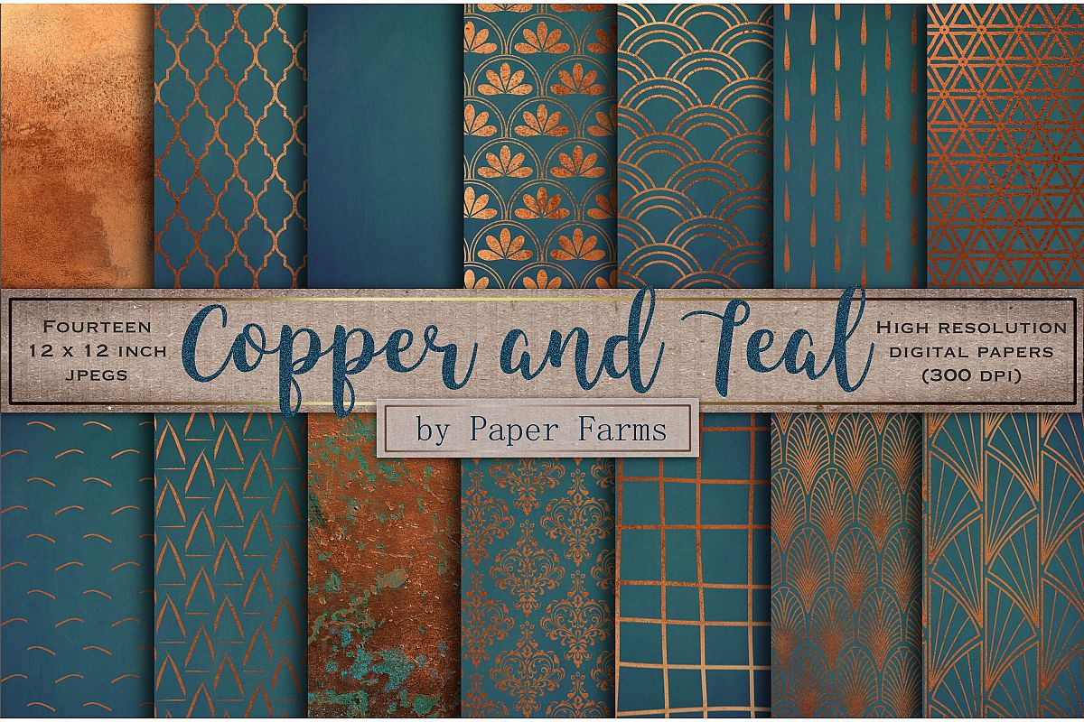 Copper teal pattern backgrounds example image 1