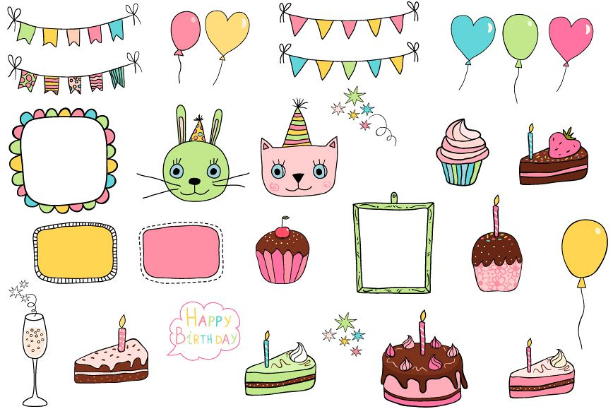 Cute birthday clipart, Party design elements example image 1