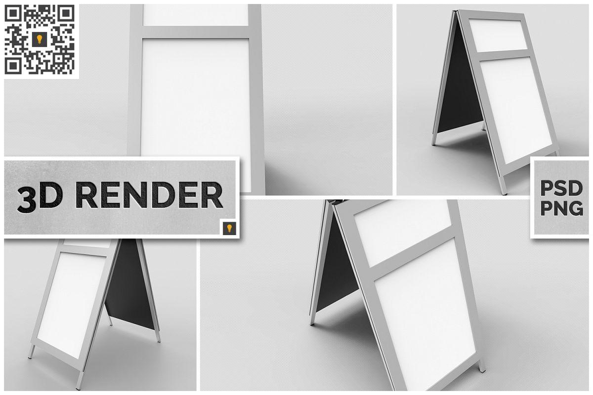 Sidewalk Poster Sign 3D Render example image 1