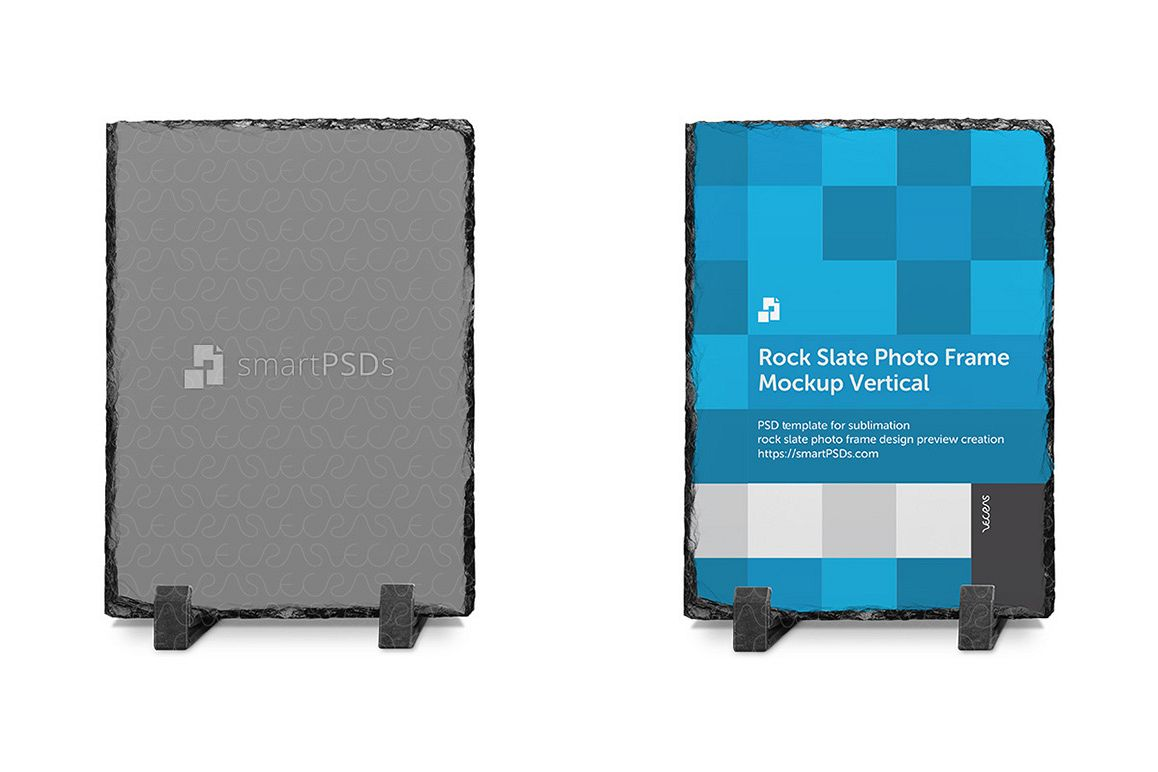 Rock Slate Photo Frame Design Mockup- Vertical 3 Views example image 1