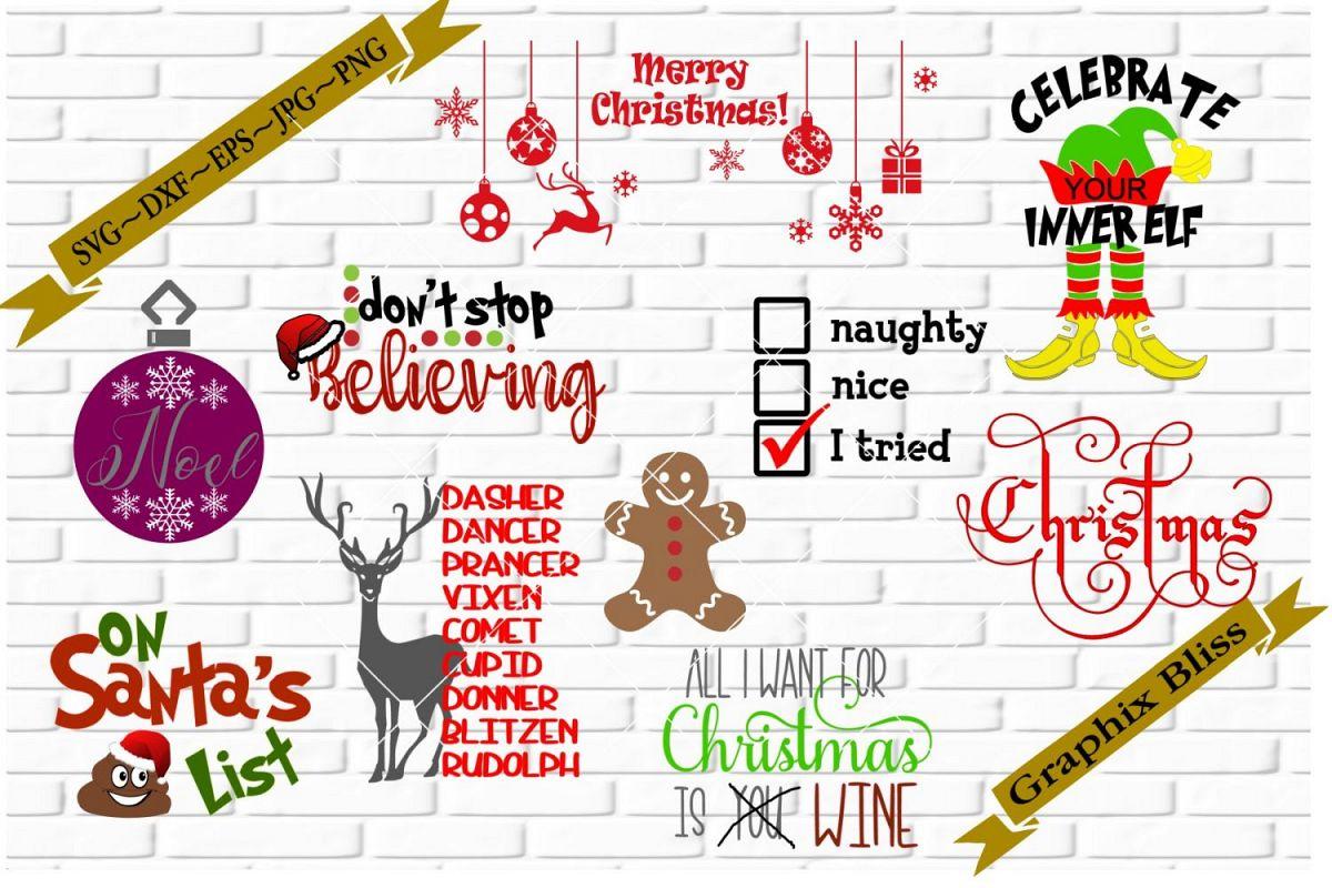 Christmas Theme Bundle 4 SVG DXF EPS PNG example image 1