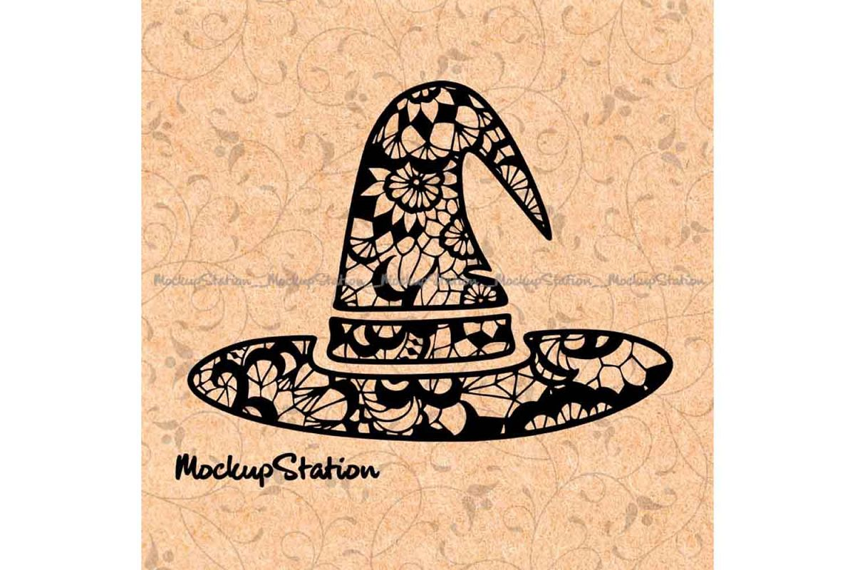 Witch Hat Floral Lace Mandala Halloween Home Decor svg png example image 1