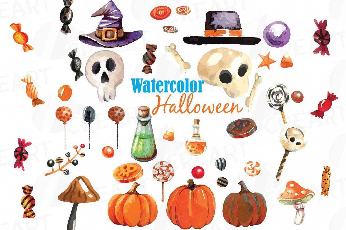 Watercolor Halloween clip art pack, Halloween candy, skull