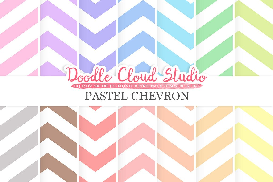Pastel Chevron digital paper, Chevron pattern, Digital Chevron, pastel colors background, Instant Download for Personal & Commercial Use example image 1